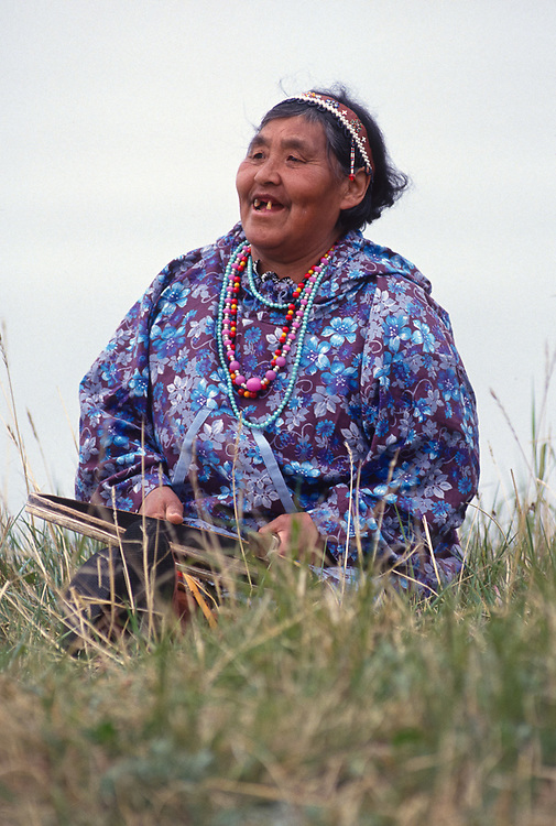 Elder native drummer, Village of Sireniki, Chukotsk Peninsula, Northeast Russia