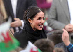 Meghan Markle arrive for a visit at Cardiff Castle with Prince Harry.
