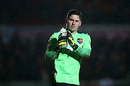 Christy Pym, the Exeter city goalkeeper looks on. EFL Skybet football league two match, Newport county v Exeter City  at Rodney Parade in Newport, South Wales on New Years Day, Monday 1st January 2018.<br /> pic by Andrew Orchard,  Andrew Orchard sports photography.