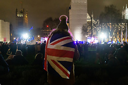 A woman watches a large rally held by supporters of a People's Vote - a second referendum - in Parliament Square across the road from the House of Commons where MPs are voting on Prime Minister Theresa May's Brexit deal. London, January 15 2019.