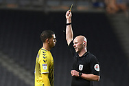 Coventry City defender Tennai Watson (2) shown a yellow card, booked  during the EFL Trophy match between Milton Keynes Dons and Coventry City at Stadium:MK, Milton Keynes, England on 3 December 2019.
