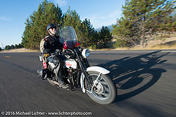 Mike Bell riding his 1923 Harley-Davidson J duriong Stage 14 - (284 miles) of the Motorcycle Cannonball Cross-Country Endurance Run, which on this day ran from Meridian to Lewiston, Idaho, USA. Friday, September 19, 2014.  Photography ©2014 Michael Lichter.
