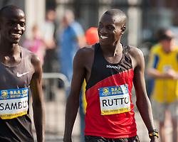 Boston Athletic Association 10K road race: Stephen Sambu and Lani Rutto warmup