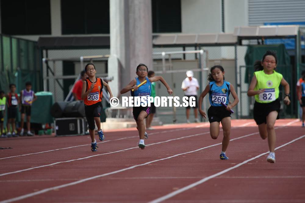 Bishan Stadium, Tuesday, April 30, 2013 — The Nanyang Primary D girls' 4x100m relay team set a new record of 58.87 seconds when they won gold at the 54th National Primary School Track & Field Championships. <br /> <br /> Story: http://www.redsports.sg/2013/05/06/pri-4x100m-relay-girls/