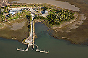 Aerial view of tiny Gold Bug Island between the Intracoastal Waterway at Sullivans Narrows and the salt marshes of Mount Pleasant in Sullivans Island, South Carolina