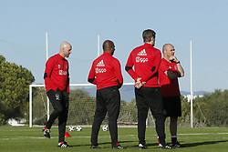 (L-R), Coach Erik ten Hag of Ajax, assistant trainer Aron Winter of Ajax, assistant trainer Richard Witsche of Ajax, assistant trainer Alfred Schreuder of Ajax during a training session of Ajax Amsterdam at the Cascada Resort on January 08, 2018 in Lagos, Portugal