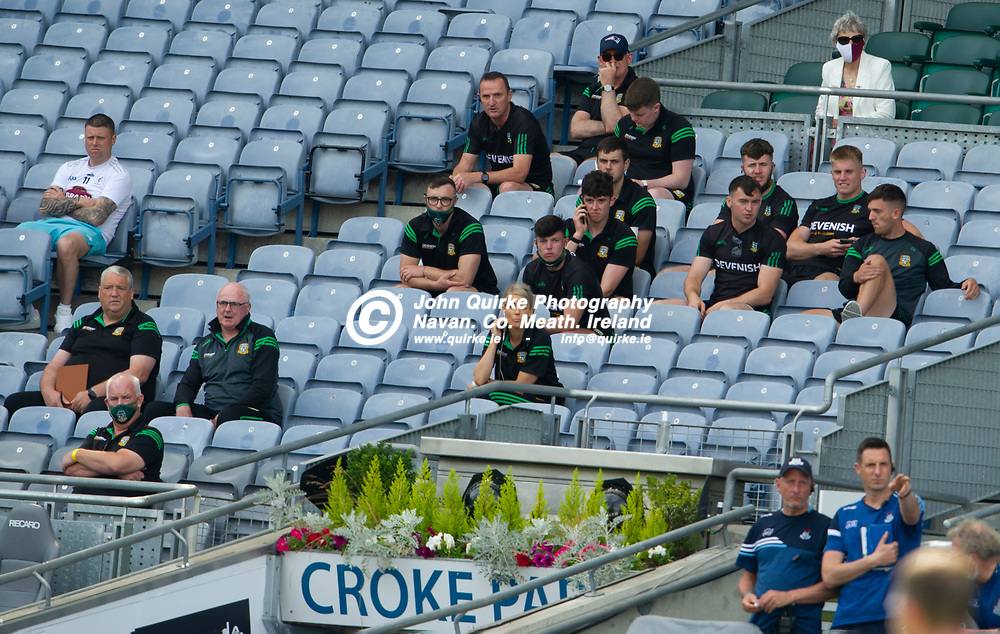 18-07-21. Meath v Dublin - Leinster SFC Semi-Final at Croke Park.<br /> Andy McEntee (back left), Meath Manager watching the game from the stand.<br /> Photo: John Quirke / www.quirke.ie<br /> ©John Quirke Photography, 16 Proudstown Road, Navan. Co. Meath. (info@quirke.ie / 046-9028461 / 087-2579454).