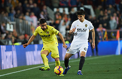 January 26, 2019 - Valencia, Valencia, Spain - Carlos Soler of Valencia CF and Jaume Costa of Villarreal CF during the La Liga Santander match between Valencia and Villarreal at Mestalla Stadium on Jenuary 26, 2019 in Valencia, Spain. (Credit Image: © Maria Jose Segovia/NurPhoto via ZUMA Press)