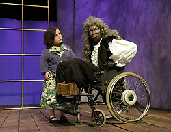 Beauty & The Beast<br /> at the Lyric Theatre Hammersmith, London, Great Britain<br /> press photocall 5th December 2007<br /> <br /> Lisa Hammond (as Belle)<br /> Leo Wringer (as Beast)<br /> Javier Marzan (as Kronenbourg the dog)<br /> <br /> Photograph by Elliott Franks