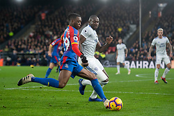 Crystal Palace's Aaron Wan-Bissaka and Cardiff City's Sol Bamba battle for the ball