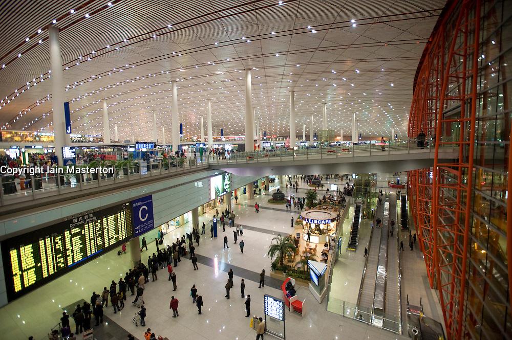 Interior view of new Terminal 3 at Beijing International airport in Beijing China