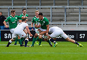 Ireland second-row James Ryan runs at the England defence during the World Rugby U20 Championship Final   match England U20 -V- Ireland U20 at The AJ Bell Stadium, Salford, Greater Manchester, England onSaturday, June 25, 2016. (Steve Flynn/Image of Sport)