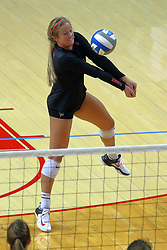 23 November 2017:  Courtney Pence sets during a college women's volleyball match between the Valparaiso Crusaders and the Illinois State Redbirds in the Missouri Valley Conference Tournament at Redbird Arena in Normal IL (Photo by Alan Look)