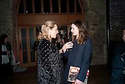 KATE PAKENHAM; EMILY MORTIMER, Party after the opening of 'Flea in her Ear' . The Old Vic. ( John Mortimer write the translation of theplay.) Vinioplois. 14 December 2010. DO NOT ARCHIVE-© Copyright Photograph by Dafydd Jones. 248 Clapham Rd. London SW9 0PZ. Tel 0207 820 0771. www.dafjones.com.