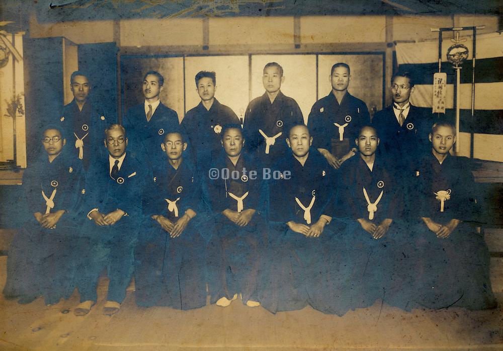ceremonial group gathering male workers portrait vintage Japan