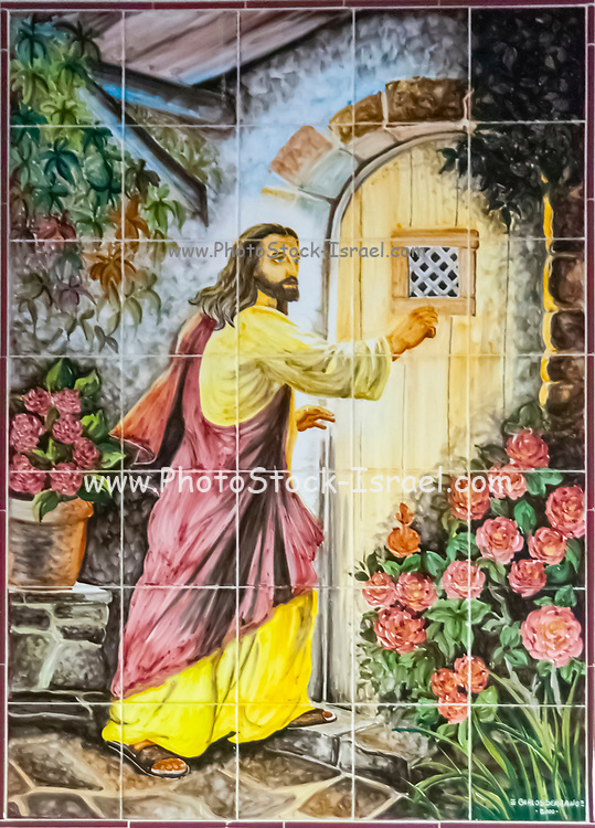 Christian Religious art (Jesus Knocking On Your Door) in hand painted ceramic tiles. Photographed in Nazare, Portugal