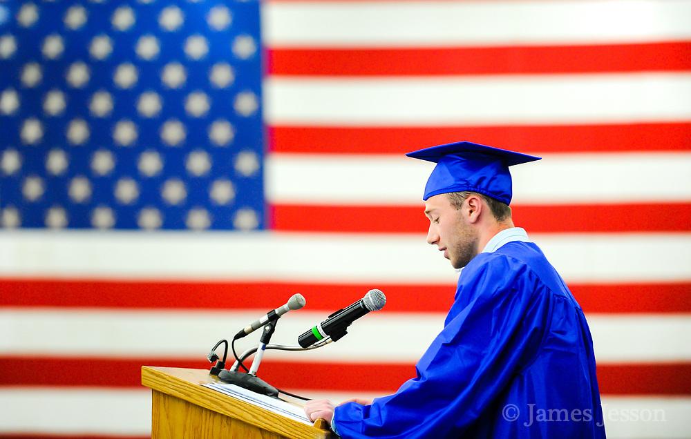 Giving a graduation speech.