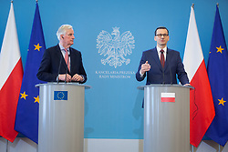March 29, 2019 - Warsaw, Masovia, Poland - European Chief Negotiator for Brexit Michel Barnier (L) and Poland's Prime Minister Mateusz Morawiecki (R) during the press conference, at Chancellery of the Prime Minister, in Warsaw, Poland on 29 March 2019  (Credit Image: © Mateusz Wlodarczyk/NurPhoto via ZUMA Press)