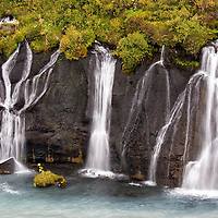 Hraunfossar is is the name for a group of waterfall cascades situated between Húsafell and Reykholt in western Island.