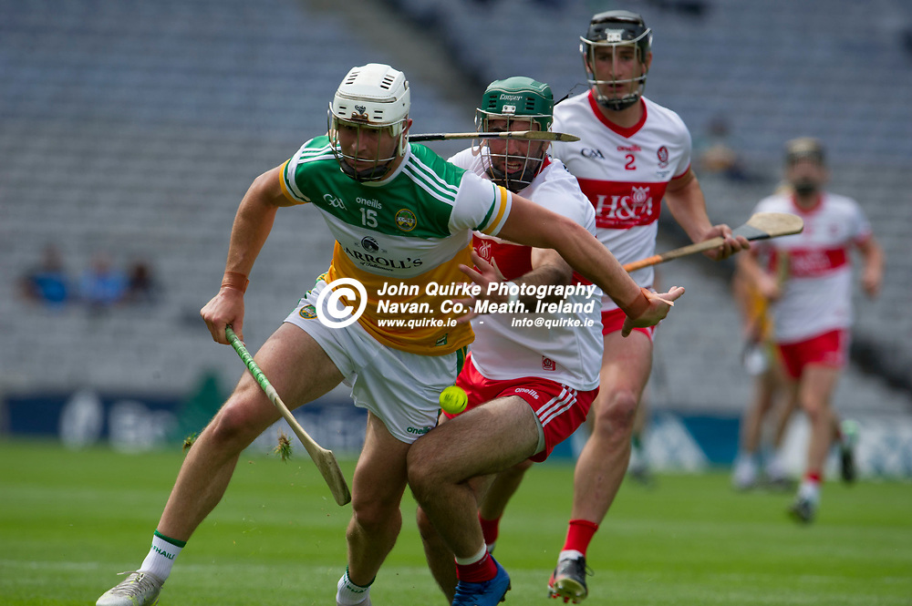 01–08-21.<br /> Derry v Offaly - Christy Ring Cup Final at Croke Park.<br /> Oisin Kelly, Offaly in action against Derry in the Christy Ring Cup Final.<br /> Photo: the John Quirke / www.quirke.ie<br /> ©John Quirke Photography, 16 Proudstown Road, Navan. Co. Meath. (info@quirke.ie / 046-9028461 / 087-2579454).