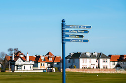 View of sign at  Gullane Golf Club  in East Lothian, Scotland, united Kingdom