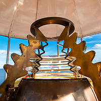 Interior of Owls Head LIght and the Fourth order Fresnel lens (1856). View out to Western Penobscot Bay.