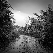 Dirt road winds mysteriously through the wilderness, Preah Monivong National Park, <br /> <br /> Bokor, Kampot, Cambodia 2005, Southeast Asia