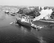 """Ackroyd 15367-1 """"Port of Portland. Tug Portland. Aerials of Portland (the tug boat) with American Hawk. May 16, 1968."""""""