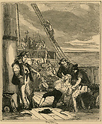 Mutiny on HMS 'Bounty', May 1790.  Captain Bligh at the mercy of the mutineers.  Illustration by 'Phiz' (1815-1882).