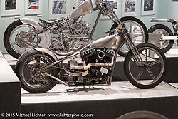 """Pat Patterson's HD Sportster custom in Michael Lichter's annual Motorcycles as Art Show """"Naked Truth"""" at the Buffalo Chip during the 75th Annual Sturgis Black Hills Motorcycle Rally.  SD, USA.  August 6, 2015.  Photography ©2015 Michael Lichter."""