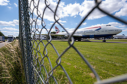 "© Licensed to London News Pictures 20/07/2020 - British Airways has recently announced the retirement of it's fleet of 747 aircraft, a decision brough forward due to the impact of the Coronavirus pandemic. This BA 747 is parked at Kemble airfield, Gloucestsertshire with It's engines allready removed. Based at the airfield ""Air Salvage international"" dissasemble aircrfat for parts and scrap materials. Photo Credit : Stephen Shepherd/LNP"