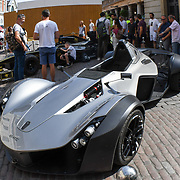 Gumball 3000 rally 2018: One hundred supercars display in Covent garden on August 4 2018, London, UK.
