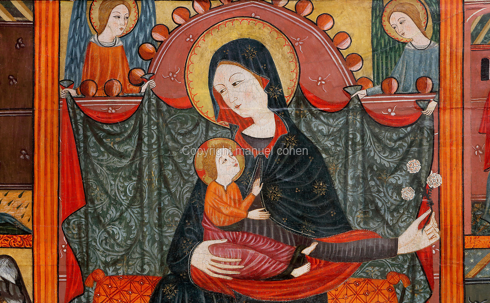 Virgin and child enthroned, detail, front panel of an altarpiece from Bellver de Cerdanya, by the studio of Seu d'Urgell, late 14th century, tempera painting on wood, in the Museu Episcopal de Vic, specialising in medieval liturgical catalan art, in Vic, Catalonia, Spain. Picture by Manuel Cohen