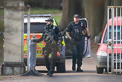 DATE CORRECTION © Licensed to London News Pictures. 03/12/2019. Windsor, UK. Armed police are seen at the gates to Prince Andrew's Royal Lodge at Windsor. The BBC has screened Panorama's hour long interview with Virginia Giuffre - who alledges she was made to sleep with Prince Andrew when she was 17. Photo credit: Peter Macdiarmid/LNP