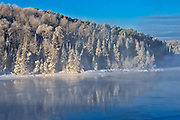 Fog on Lac Seul in winter<br />