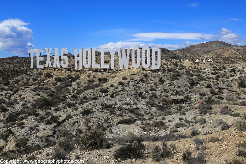 Texas Hollywood movie set tourist attraction sign near Tabernas, Almeria, Spain