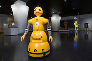 A robot and the HAL, Hybrid Assistive Limb, is a cyborg-type robot, by which a wearer's bodily functions can be improved, supported and enhanced. At dispaly at the robotics company Cyberdyne. Japan.