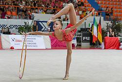 July 28, 2018 - Chieti, Abruzzo, Italy - Junior Rhythmic gymnast Melaniia Tur of Ukraine performs her hoop routine during the Rhythmic Gymnastics pre World Championship Italy-Ukraine-Germany at Palatricalle on 29th of July 2018 in Chieti Italy. (Credit Image: © Franco Romano/NurPhoto via ZUMA Press)
