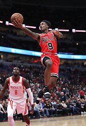 November 3, 2018 - Chicago, IL, USA - Chicago Bulls guard Antonio Blakeney (9) rises for a basket in the second quarter against the Houston Rockets at the United Center Saturday, Nov. 3, 2018, in Chicago. The Rockets beat the Bulls 96-88. (Credit Image: © John J. Kim/Chicago Tribune/TNS via ZUMA Wire)