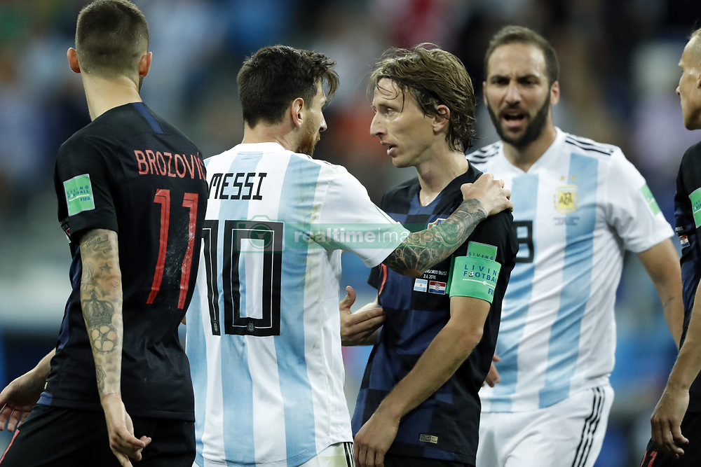 (l-r) Lionel Messi of Argentina, Luka Modric of Croatia during the 2018 FIFA World Cup Russia group D match between Argentina and Croatia at the Novgorod stadium on June 21, 2018 in Nizhny Novgorod, Russia