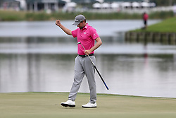 May 13, 2018 - Ponte Vedra Beach, Florida, United States - Webb Simpson reacts after putting the 18th green and winning The PLAYERS Championship at TPC Sawgrass. (Credit Image: © Debby Wong via ZUMA Wire)