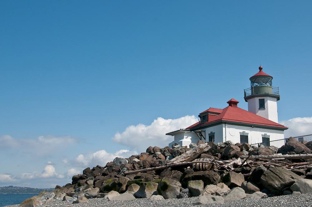 The lighthouse at Alki Beach, West Seattle, Washington.  Photo by William Byrne Drumm.