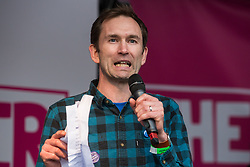 London, UK. 19 October, 2019. Silas Jones, a People's Vote activist from Wales, addresses hundreds of thousands of pro-EU citizens at a Together for the Final Say People's Vote rally in Parliament Square as MPs meet in a 'super Saturday' Commons session, the first such sitting since the Falklands conflict, to vote, subject to the Sir Oliver Letwin amendment, on the Brexit deal negotiated by Prime Minister Boris Johnson with the European Union.