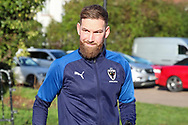 AFC Wimbledon midfielder Scott Wagstaff (7) arriving for the game during the EFL Sky Bet League 1 match between AFC Wimbledon and Peterborough United at the Cherry Red Records Stadium, Kingston, England on 18 January 2020.