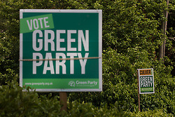Campaign signs for the Green Party candidate Carolyne Culver are pictured on the eve of the Chesham and Amersham by-election on 16th June 2021 in Chesham, United Kingdom. The by-election was triggered by the death of Dame Cheryl Gillan, who had been the constituency's MP for 29 years, and it is expected to be a tight race between the Conservatives and the Liberal Democrats.