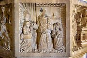 Church of All Saints, Great Glemham, Suffolk, England, UK - Seven Sacrament font depicting mass