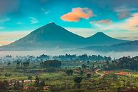 Mount Muhabura (13,540'),and Mount Gahinga (11,398'), extinct volcanoes in the Virunga Mountains on the border of Uganda, Rwanda and Congo.