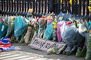 A thankyou Phillip sign lays amongst flowers In memory of Prince Philip The Royal Highness the Duke of Edinburgh, London on 9 April 2021.