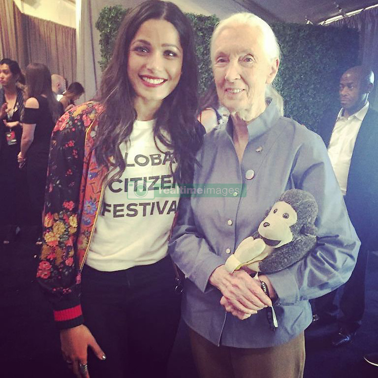 "Freida Pinto releases a photo on Instagram with the following caption: ""Happiest day of my life!! JANE GOODALL and Mr. H. \ud83d\ude0d\ud83d\ude0d!"". Photo Credit: Instagram *** No USA Distribution *** For Editorial Use Only *** Not to be Published in Books or Photo Books ***  Please note: Fees charged by the agency are for the agency's services only, and do not, nor are they intended to, convey to the user any ownership of Copyright or License in the material. The agency does not claim any ownership including but not limited to Copyright or License in the attached material. By publishing this material you expressly agree to indemnify and to hold the agency and its directors, shareholders and employees harmless from any loss, claims, damages, demands, expenses (including legal fees), or any causes of action or allegation against the agency arising out of or connected in any way with publication of the material."