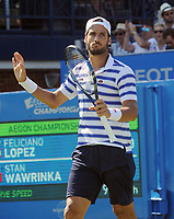 Tennis - 2017 Aegon Championships [Queen's Club Championship] - Day Two, Monday<br /> <br /> Men's Singles, Round of 32<br /> Feliciano Lopez [Spain] vs. Stan Wawrinka [Sui]<br /> <br /> Feliciano Lopez with a muted celebration after winning his match with the ball hitting the net on its way over on Centre Court <br /> <br /> COLORSPORT/ANDREW COWIE